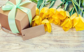 Picture love, gift, bouquet, yellow, tape, tulips, love, yellow, wood, flowers, beautiful, romantic, tulips, valentine's day, …