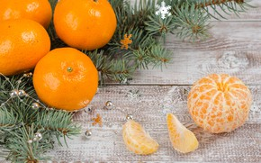 Picture snow, decoration, New Year, Christmas, Christmas, wood, winter, snow, fruit, New Year, tangerines, decoration, tangerine, …