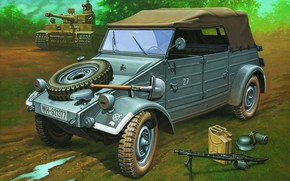 Picture Germany, SUV, MG 42, Volkswagen Type 82, Kubelwagen