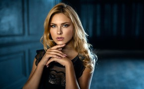 Picture look, pose, background, model, portrait, makeup, dress, hairstyle, blonde, beauty, in black, bokeh, Carla Sonre, ...