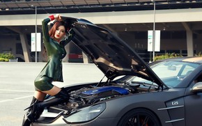 Picture auto, look, Girls, Asian, beautiful girl, open the hood, Carlsson C25 Royal Super GT