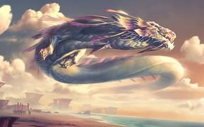 Picture fantasy, Dragon, sea, sunset, army, digital art, artwork, fantasy art, creature, banners
