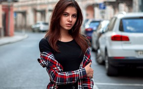 Picture road, look, machine, pose, street, model, portrait, home, makeup, hairstyle, shirt, brown hair, beauty, bokeh