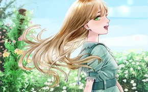 Picture girl, flowers, the wind, meadow