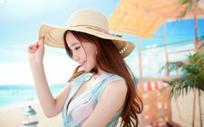 Picture sea, beach, the sun, pose, model, portrait, hat, makeup, dress, hairstyle, brown hair, Asian, beauty, …
