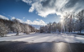 Picture winter, snow, landscape, nature, lake, beauty, frost