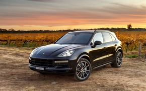 Picture sunset, Porsche, Turbo, 2018, Cayenne, crossover