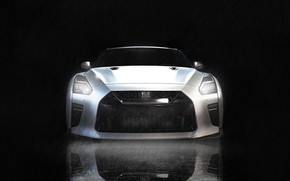 Picture Auto, White, Machine, GTR, Nissan, GT-R, Lights, Car, Art, Render, Design, R35, The front, Sports …