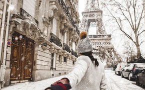Picture Love, Paris, Winter, France, Snow, Street, Wallpaper, Woman, Mood
