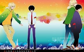 Picture anime, art, guys, Katekyo Hitman Reborn, Teacher mafia Reborn, rainbow background