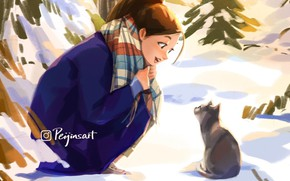Picture winter, joy, kitty, scarf, girl, squat, by Peijin Yang