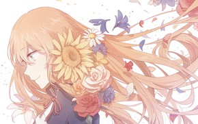 Picture girl, flowers, The saber, Fate stay night, Fate / Stay Night