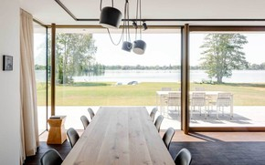 Picture interior, terrace, dining room, panoramic Windows, House by the Lake