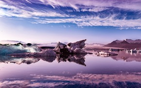 Picture ice, the sky, clouds, mountains, reflection, lilac, shore, ice, ice, Iceland, pond