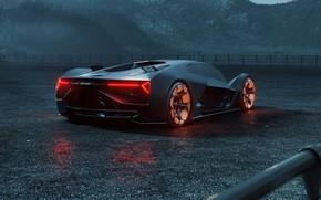 Picture rendering, Lamborghini, supercar, rear view, hypercar, The Third Millennium