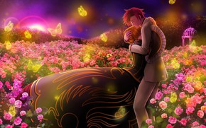 Picture girl, romance, the evening, anime, art, pair, guy, two
