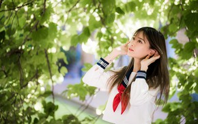 Picture branches, pose, Asian, bokeh