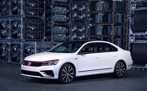 Picture white, Volkswagen, composition, sedan, 2018, four-door, Passat GT