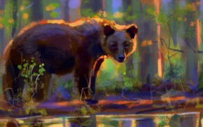 Picture forest, bear, pond, by Meorow