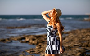 Picture water, smile, the wind, Girl, hat, dress, Julia, Lashon Rise