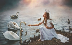 Picture girl, birds, crown, swans, Princess, pond