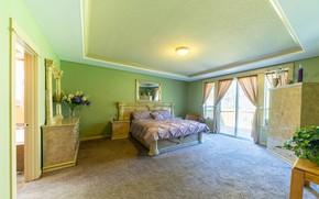 Picture design, room, bed, mirror, window, balcony, bedroom