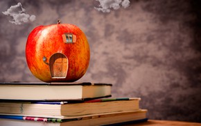 Picture clouds, table, background, books, Apple, house