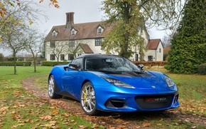 Picture auto, autumn, blue, house, Lotus, Evora, GT410