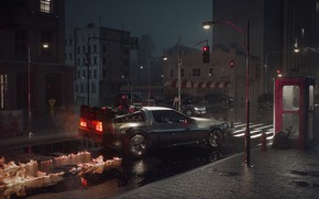 Picture science fiction, Back to the Future, delorean, Motion Graphics