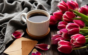 Picture coffee, bouquet, tulips, the envelope, Olena Rudo