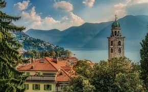 Picture the sky, the sun, clouds, trees, mountains, lake, tower, home, Switzerland, roof, haze, Lugano