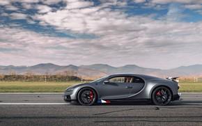 Picture Bugatti, Sport, in profile, W16, Chiron, spezzare, 2021, матово-серый, Les Légendes du Ciel, 1500 л.с.