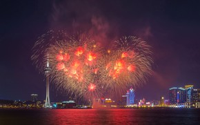 Picture heart, salute, China, fireworks, Macau