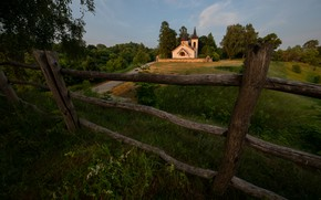 Picture summer, landscape, nature, the evening, track, Church, fence