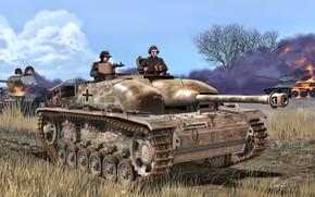 Picture Grass, Smoke, Germany, tank, burns, T-34/85, The second World war, The Wehrmacht, Assault gun, Stug …