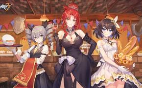 Picture girls, food, tavern, Honkai Impact 3rd