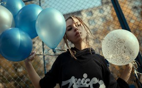 Picture look, the sun, pose, model, portrait, makeup, the fence, hairstyle, blonde, braids, beauty, balloons, bokeh, …