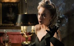 Picture blonde, cigarette, mouthpiece, Noir, whiskey, black, blonde, evening dress, прошлый век, стиль 40-х годов, табачный …