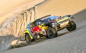 Picture Sand, Auto, Sport, Machine, Race, Peugeot, Lights, Red Bull, Rally, Dakar, Dakar, SUV, Rally, Sport, …