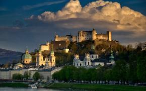 Picture clouds, the city, river, mountain, Austria, Church, temple, fortress, Salzburg, Hohensalzburg, Festung
