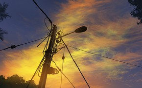 Picture sunset, power lines, by mclelun