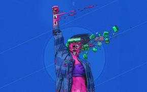 Picture Robot, Glasses, Style, Girl, Background, Fantasy, Creek, Art, Art, Style, Fiction, Cyborg, Illustration, Sci-Fi, Cyberpunk, ...