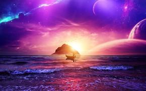 Picture space, sky, ocean, landscape, sunset, stars, man, purple, galaxy, boat, manipulation, univerce, digital Art