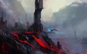 Picture city, fantasy, science fiction, spaceship, sci-fi, artist, digital art, lava, buildings, artwork, fantasy art, volcano, …