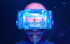 Picture Glasses, Space, Face, Portal, Fantasy, Stars, Space, Art, Fiction, Neon, Colors, Cyborg, Illustration, Concept Art, …