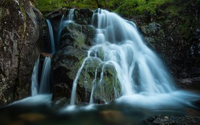 Picture forest, nature, stones, rocks, waterfall, stream, tmny background