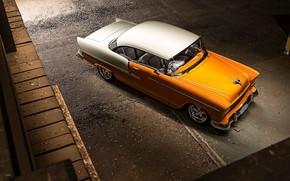 Picture Orange, Bel Air, White, Chevy, Vintage