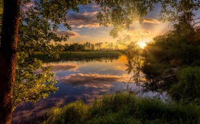 Wallpaper the sky, the sun, trees, sunset, nature, river, Alexey Malygin