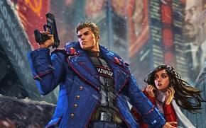 Picture city, future, red, girl, gun, USSR, police, blue, cyberpunk, coat, force, blackhair, defense, militia, soviet, …