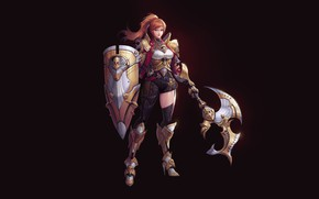 Picture Girl, Red, Fantasy, Art, Style, Illustration, Weapon, Minimalism, Shield, Armor, Character, Minsook An